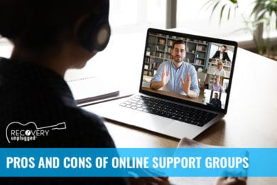 Examining the pros and cons of online addiction support groups.